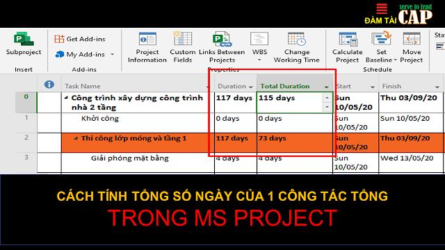 Cách tính tổng số ngày của 1 công tác tổng trong MS Project
