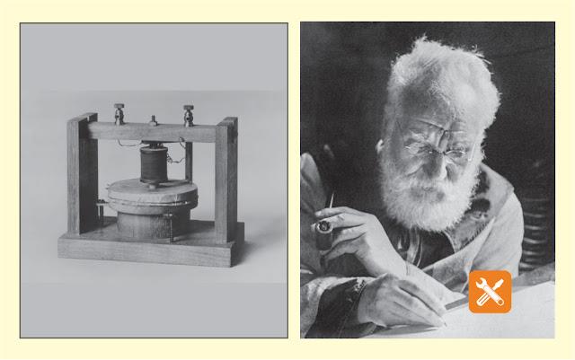 Alexander Graham Bell (1847-1922), menulis di mejanya dalam studinya di Washington. 1913.