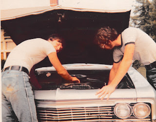 Doug Smith and Dave Smith, 1966 Chevy Impala, summer of 1971 perhaps.