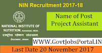 National Institute of Nutrition Hyderabad Recruitment 2017– Project Assistant