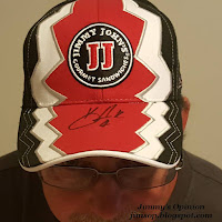 Jimmy John's autographed Kevin Harvick hat being worn by Jimmy