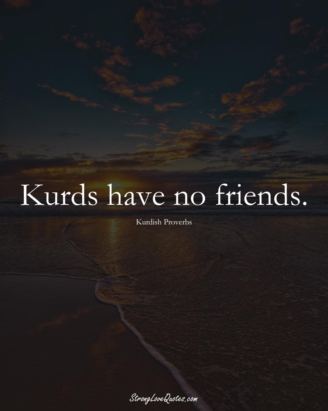 Kurds have no friends. (Kurdish Sayings);  #aVarietyofCulturesSayings