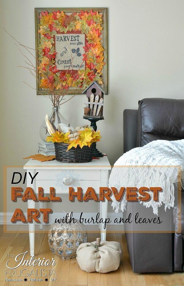 Burlap Fall Wreath Framed Art