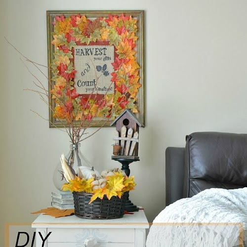 Unique Framed Fall Art With Dollar Store Leaves