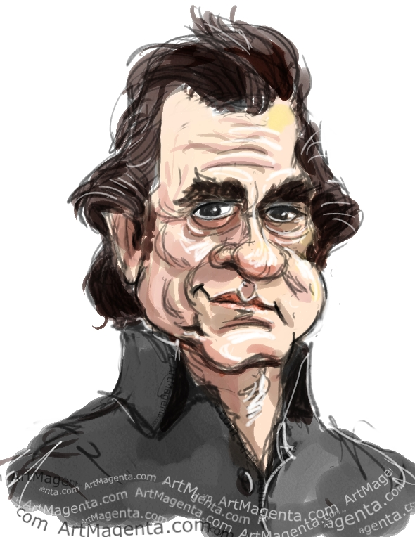 Johnny Cash caricature cartoon. Portrait drawing by caricaturist Artmagenta