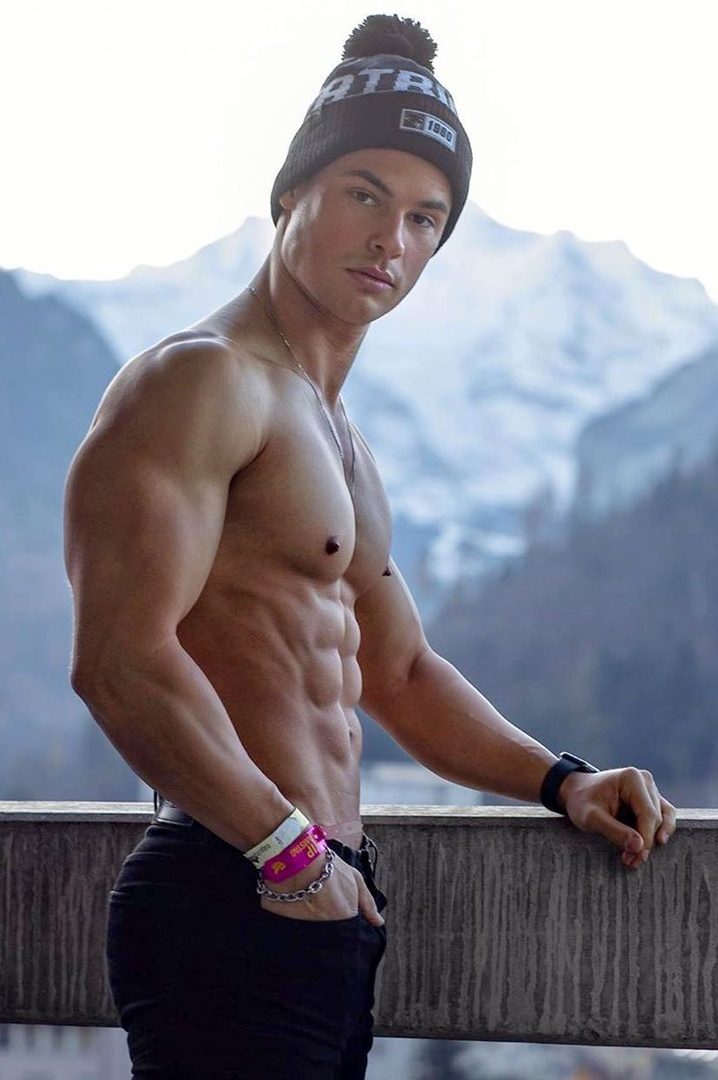 handsome-young-men-shirtless-muscular-body-ripped-sixpack-abs-winter-cap