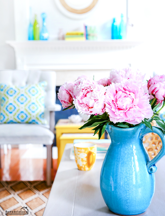 Pink peonies in blue vase