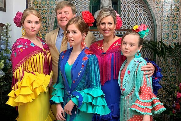 Princess Ariane, Princess Alexia, Princess Amalia and Queen Maxima wore Fabiola 1987 Flamenco dressed at Seville April Fair