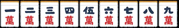 麻雀牌のイラスト(萬子)