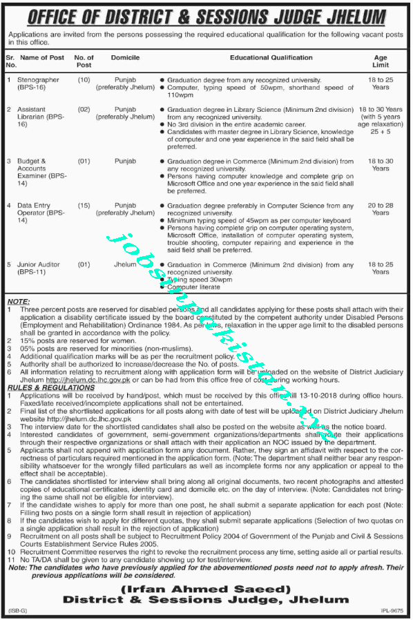 Office of District and Session Judge Jhelum Jobs 2018 Advertisement