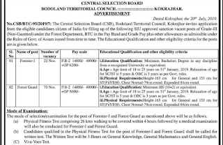 BTC Forest Guard Previous Year Papers and Syllabus 2019