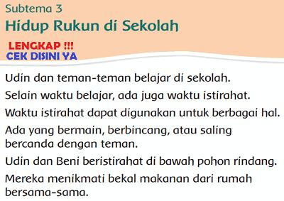 Kunci Jawaban Tematik Kelas 2 Tema 1 Subtema 3 Hidup Rukun di Sekolah www.simplenews.me