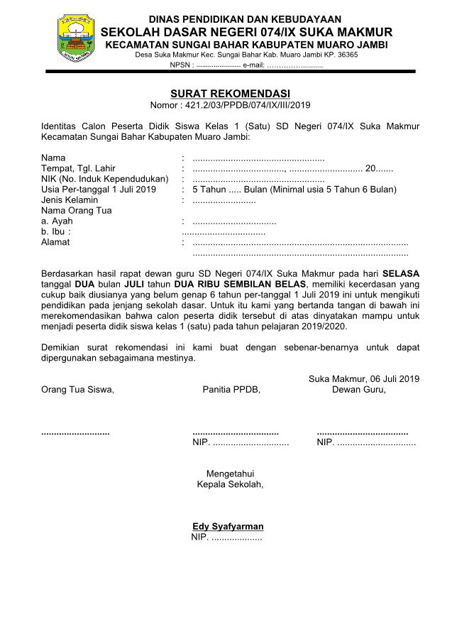 Surat Rekomendasi Dewan Guru Untuk Calon Siswa Sd 2019