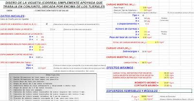 Excel para diseño de correas de madera