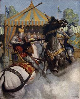 Lancelot fostiando a alguien en una justa