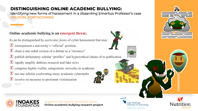 DISTINGUISHING ONLINE ACADEMIC BULLYING:  identifying new forms of harassment in a dissenting Emeritus Professor's case