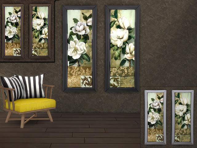 MB-MagnoliaSET Стикер Лев для The Sims 4 Габор из 2-х одинаковых цветочных картин с прекрасными магнолиями, в 3 цветовых оттенках рамки и каждая с пользовательским эскизом. Автор: marcorse