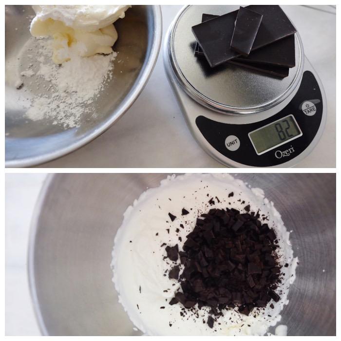 mixing up mascarpone chip filling
