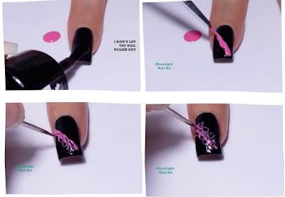 Black and Pink Drag marble Nail Art Design - needle nail art