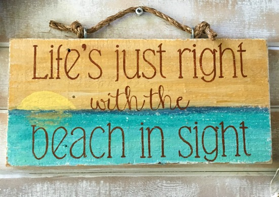 Handmade Reclaimed Wood Beach Saying Sign