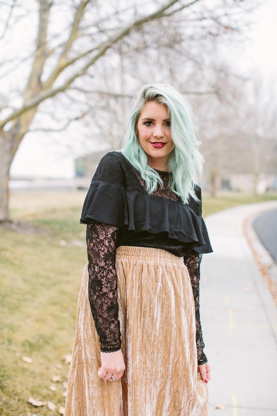 ASOS, H&M Skirt, Velvet Skirt