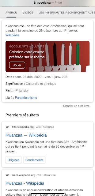 Oeuf de Pâques de Google : Kwanzaa 2020