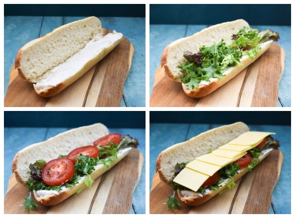 Vegan Cheese Ploughman's Sandwich - Step 1 - mayo, salad leaves, tomato and cheese