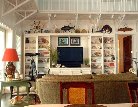 Coastal living room with wall shelf focal point