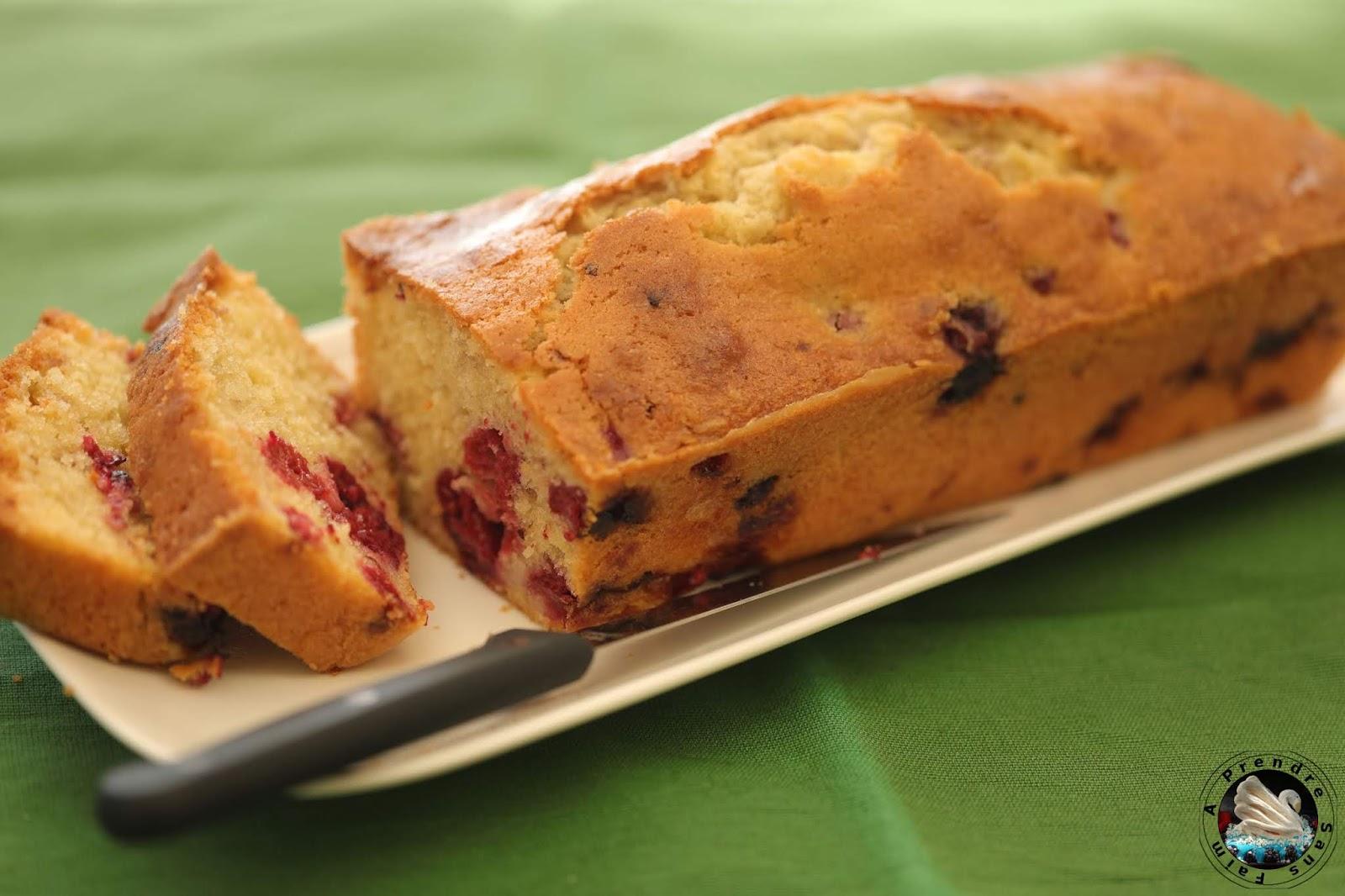 Cake aux framboises surgelées