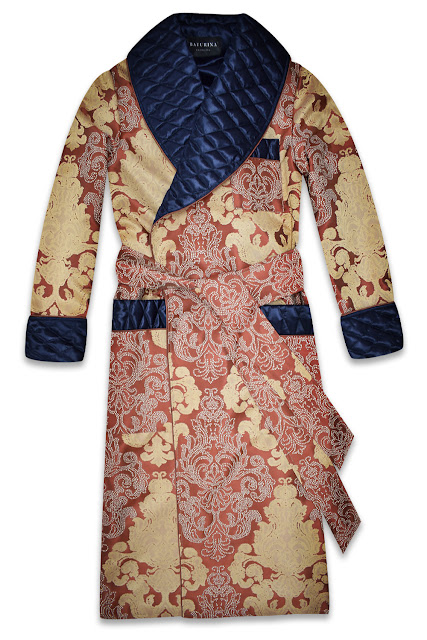 mens jacquard dressing gown quilted silk robe smoking jacket gold navy blue cotton