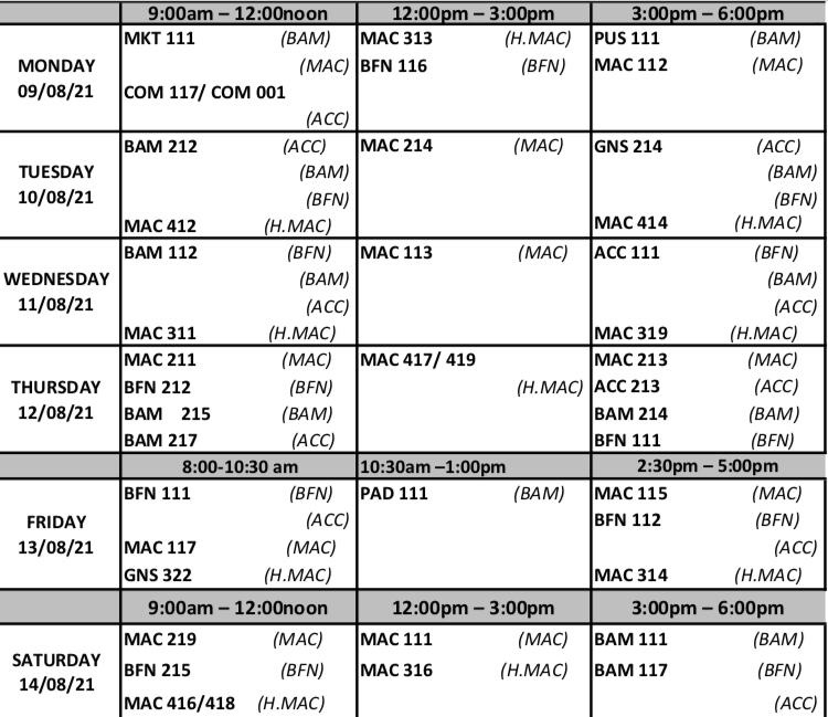 AAPOLY Exam Timetable for 1st Semester 2020/2021