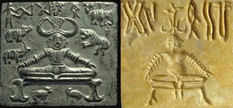 సింధు-సరస్వతీ నాగరికత తవ్వకాల ఆధారాలు, అవశేషాలలో యోగ ముద్రలు