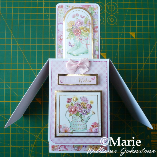 Adding embellishments Hunkydory designs and toppers to the outside of the handmade box card