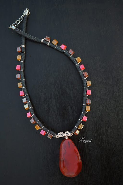 How to make a denim cord beaded necklace - full tutorial.