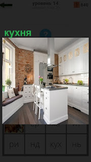 Интерьер кухни с окнами и столом в середине, стулья  и диванчик небольшой