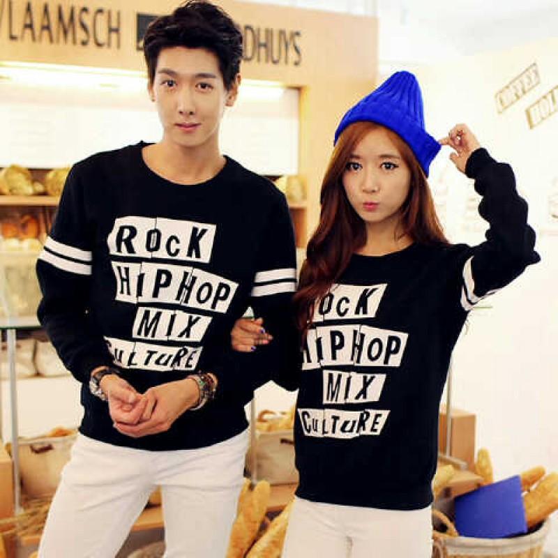 Jual Online Sweater Rock Hip Hop Black Couple Murah Jakarta Bahan Babytery Terbaru