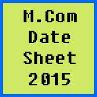 M.Com Date Sheet 2017 Part 1 and 2 Punjab University PU Lahore
