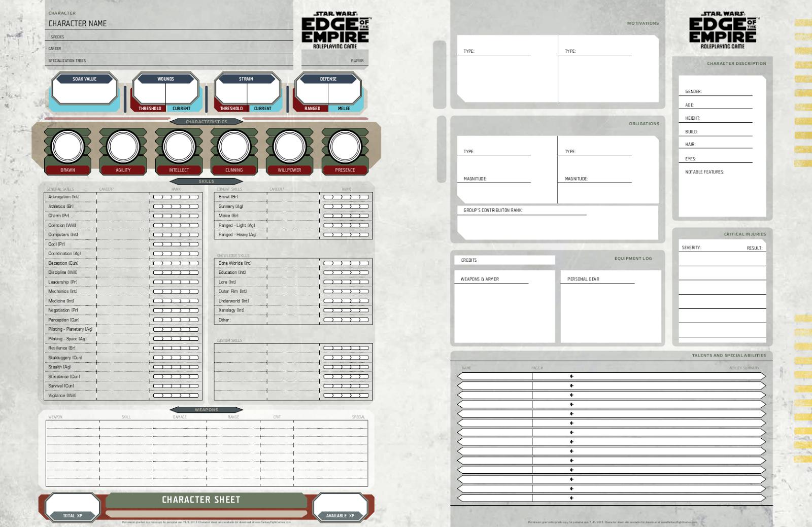 Edge Empire Star Wars Ship Sheet