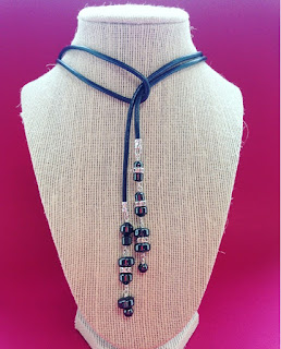 Hematine bead leather necklace at Hochanda crafts