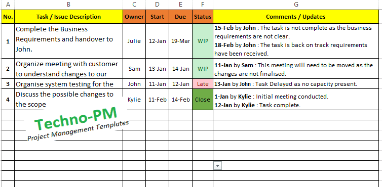 Excel Task Tracker Template Downloads 6 Samples Free Project