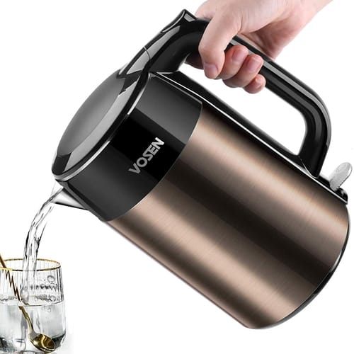 VOSEN Double Wall Stainless Steel Electric Kettle