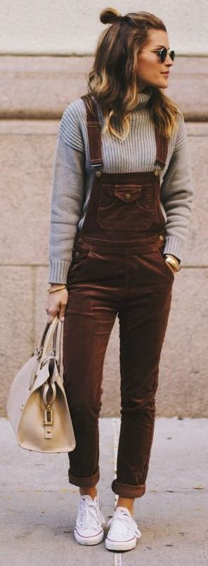 SCHOOL'S OUT BROWN CORDUROY OVERALLS