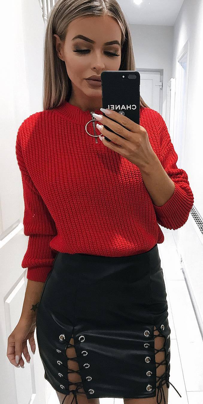 cool outfit | red knit sweater + leather skirt