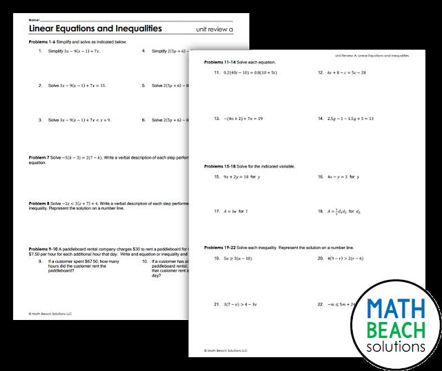 Texas Algebra 1 Unit Review