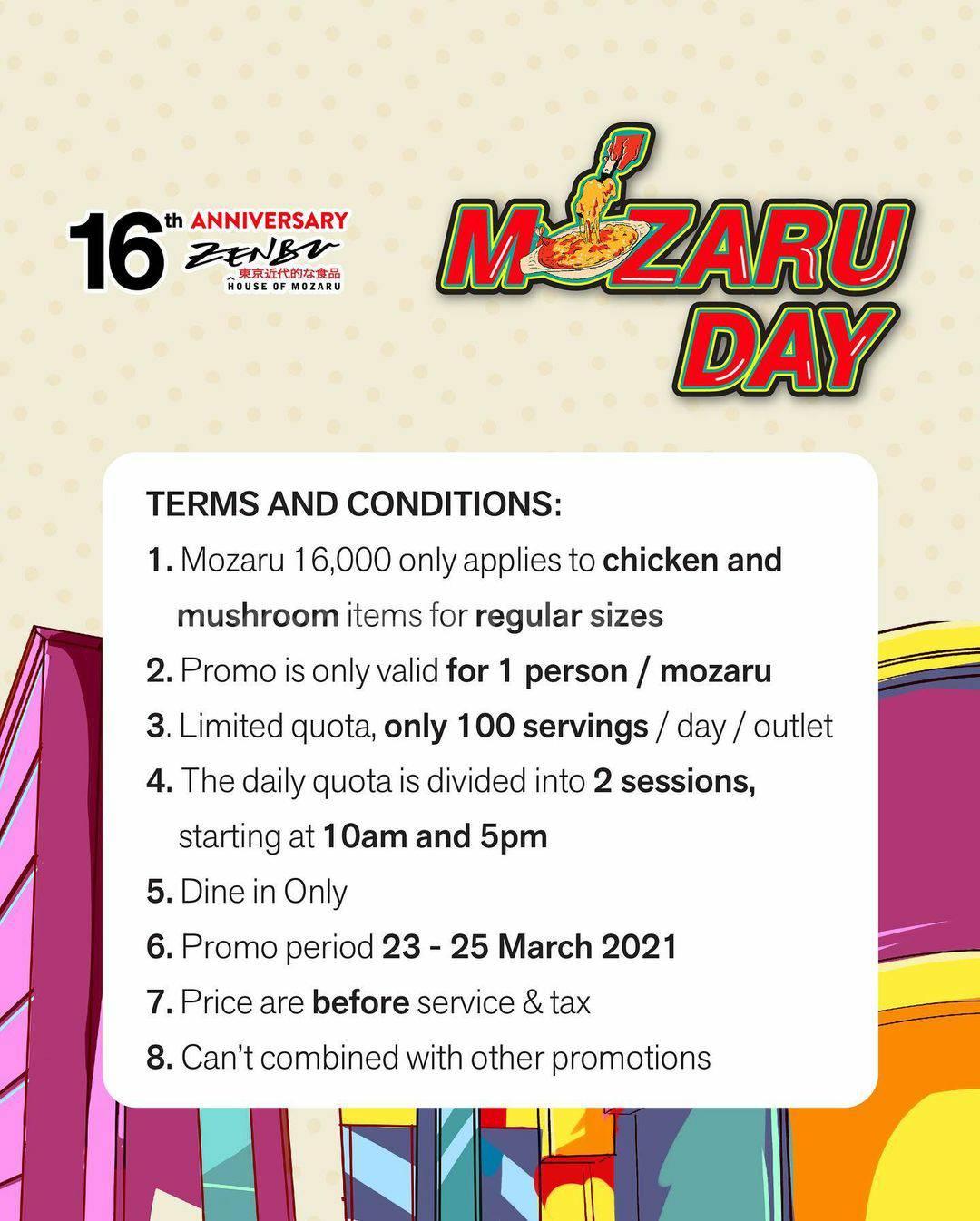 ZENBU Promo MOZARU DAY only  IDR. 16.000