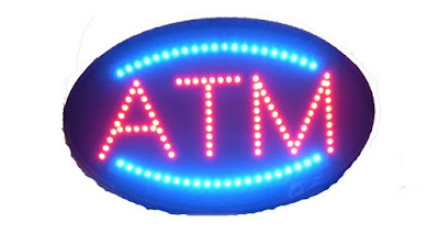 Get this retro-inspired red and blue ATM sign AffordableLED.com