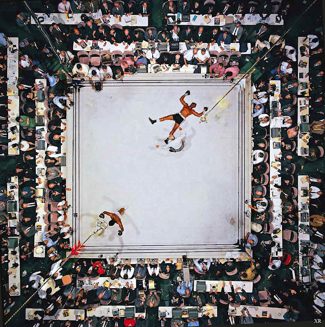 Aerial of Muhammad Ali victorious after his round two knockdown of Cleveland Williams during the 1966 World Heavyweight Title fight at the Astrodome Houston Texas, seen from above