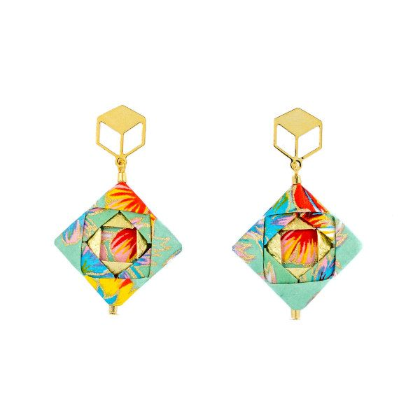 colorful folded washi paper earring squares with golden findings