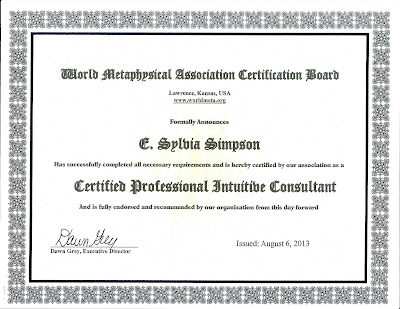 World Metaphysical Association Certified Professional Intuitive Consultant Certificate