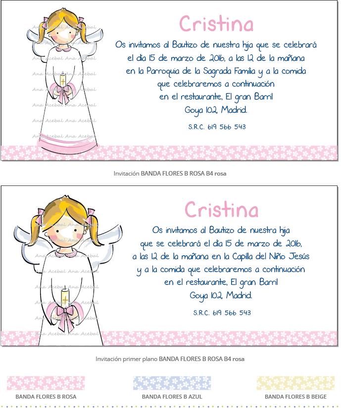 invitacion bautizo niña personalizada original